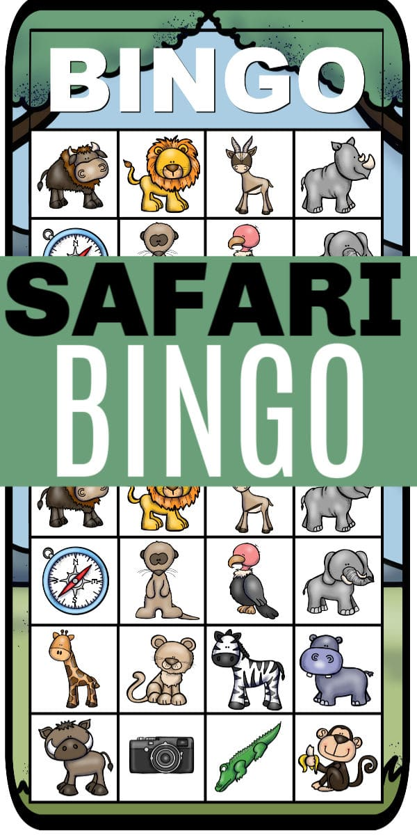 a collage of printable safari bingo with title text reading Safari Bingo