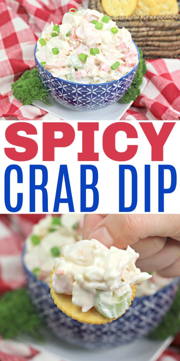 Spicy Crab Dip is the perfect party food. Crab meat, bell peppers, cream cheese and more make this a decadent appetizer for any party. #crab #appetizers #dip via @wondermomwannab