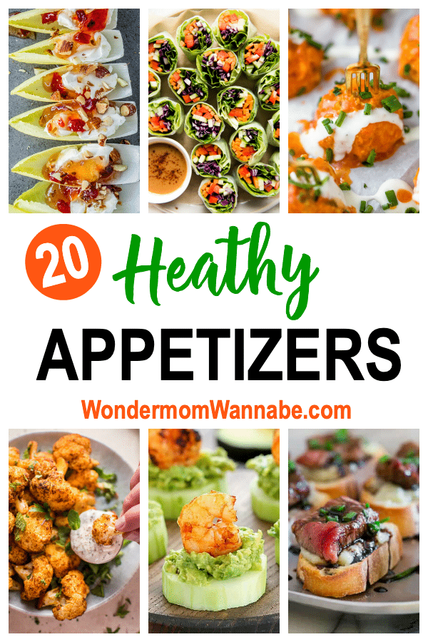 a collage of six different appetizers with title text reading 20 Healthy Appetizers