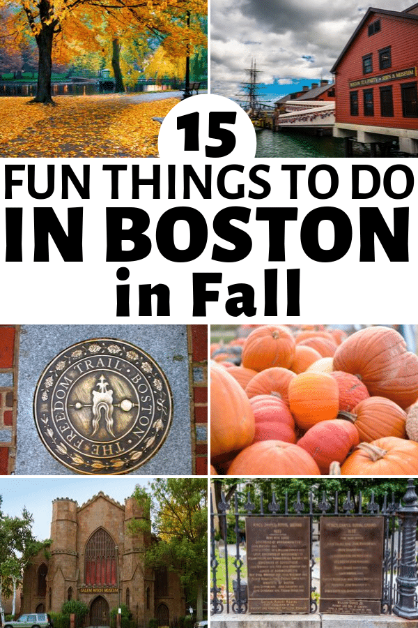 a collage of places in Boston with title text reading 5 Fun Things To Do In Boston In Fall