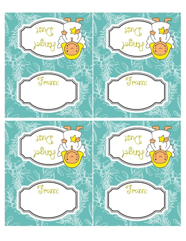 a sheet of printable green and white labels with an angel on them and the words angel dust and from