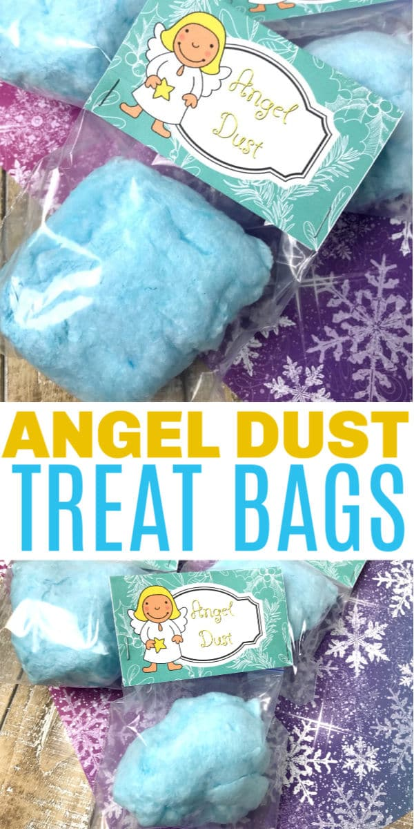 a collage of Christmas Angel Treat Bags with title text reading Angel Dust Treat Bags