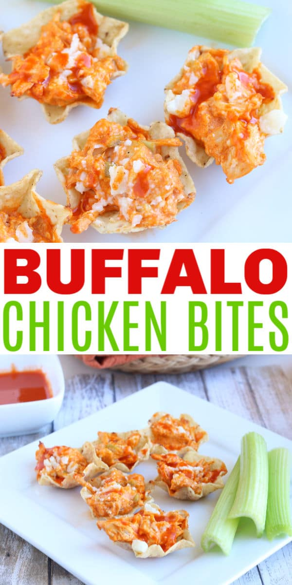 a collage of Buffalo Chicken Bites on a white plate next to celery stalks with title text reading Buffalo Chicken Bites