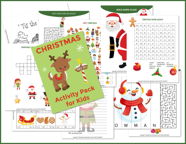 a collage of printable christmas activities for kids