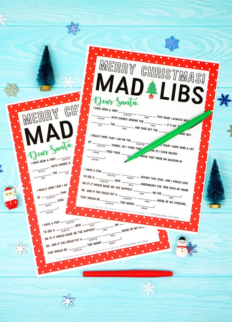 printable merry christmas mad libs on a blue background with miniature christmas trees, santa and snowman