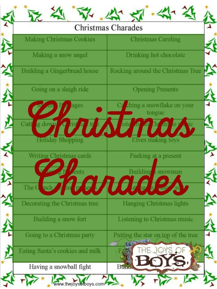 printable with title text reading Christmas Charades