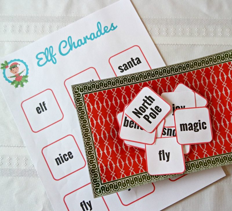 printable elf charades with cards cut out on a red paper