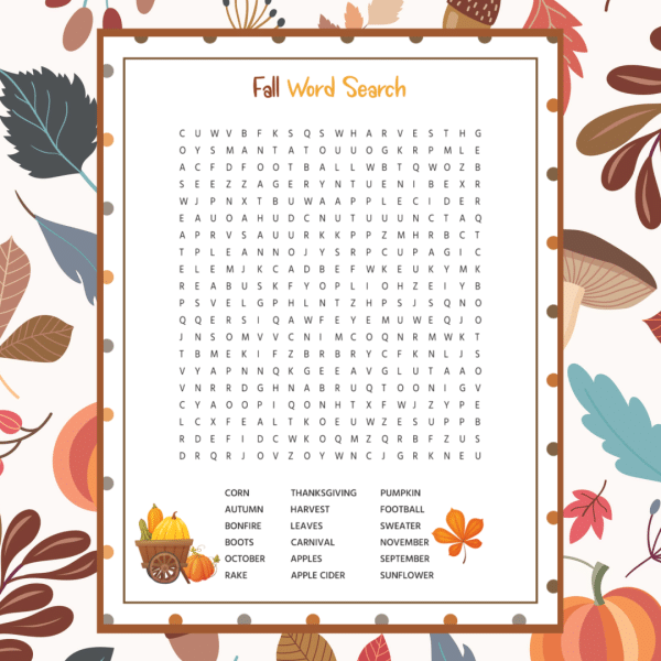 printable Fall word search on a leaf background