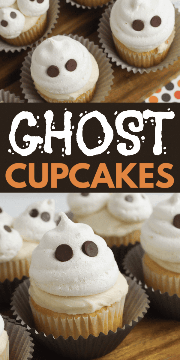 These adorable ghost cupcakes are the perfect treat for Halloween! Made with light as air meringue ghosts, these treats will disappear before your eyes. #ghostcupcakes #cupcakerecipe #halloween via @wondermomwannab