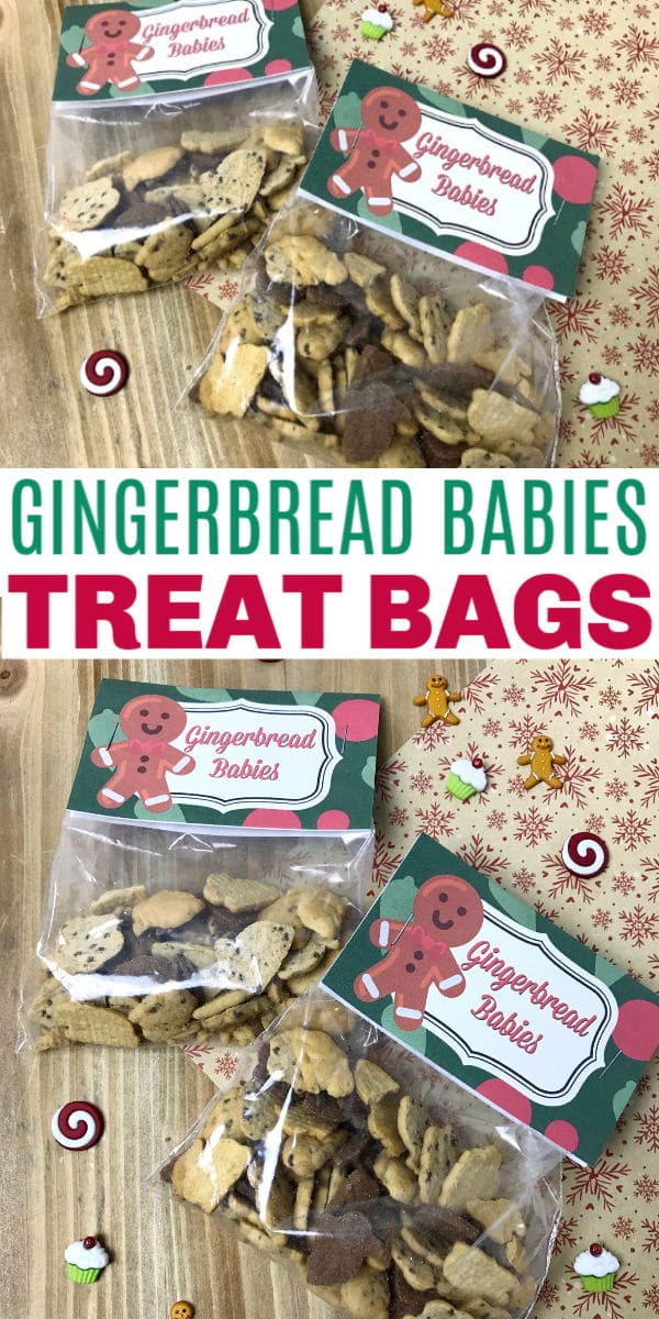 These Gingerbread Babies Treat Bags are so easy to make with this printable treat bag topper. Add some Teddy Grahams and you are set with a great gift. #treatbags #printables #Christmas via @wondermomwannab