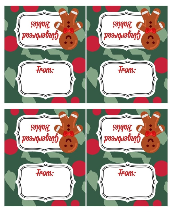 red and green printables with the words gingerbread babies and from on it next to a gingerbread man