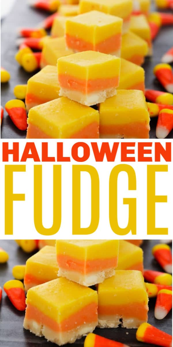 This easy Halloween Fudge recipe only has four ingredients and looks like candy corn! Orange and yellow fudge for fall is beautiful on a platter! #fudge #halloween #candycorn via @wondermomwannab