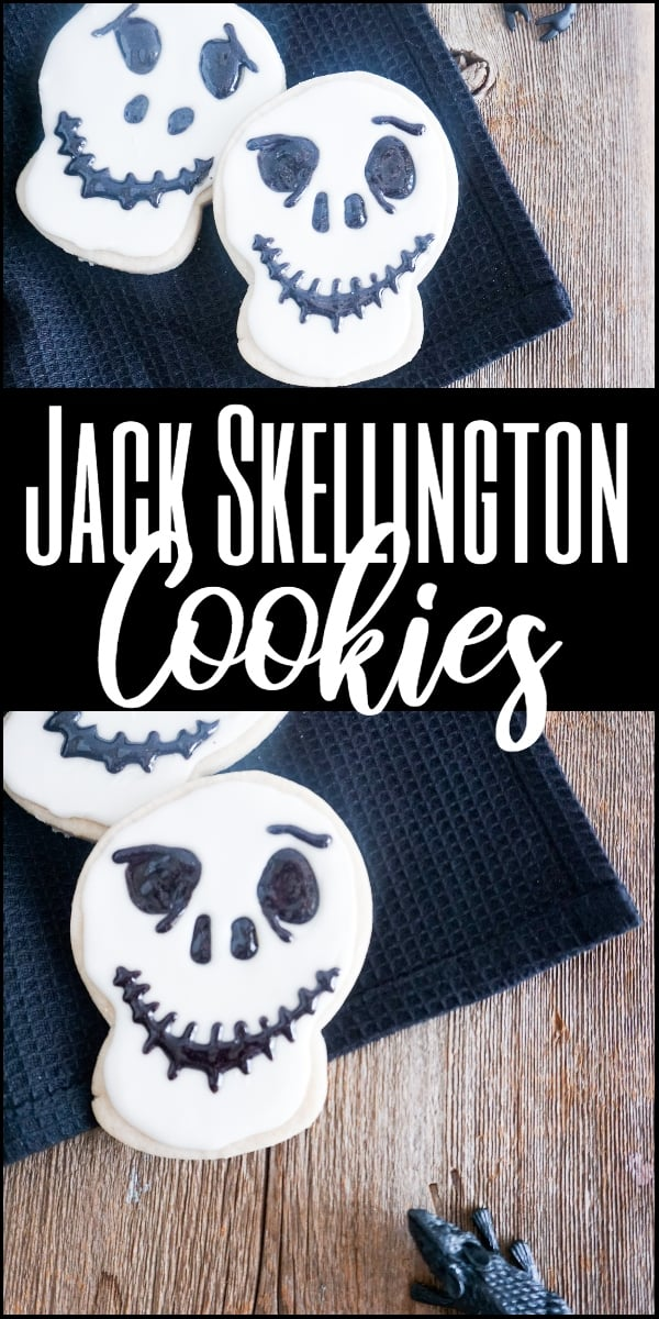 These easy Jack Skellington cookies are so simple, but really fun. And, the best part, there are plenty to go around to share on Halloween--or Christmas. #jackskellington #cookierecipe #halloween #christmas via @wondermomwannab