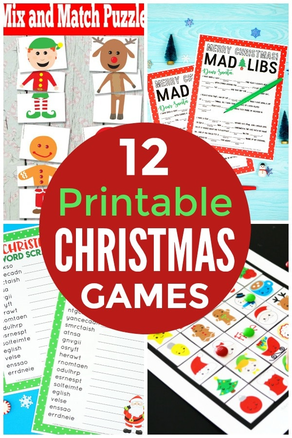 a collage of printable games with title text reading 12 Printable Christmas games