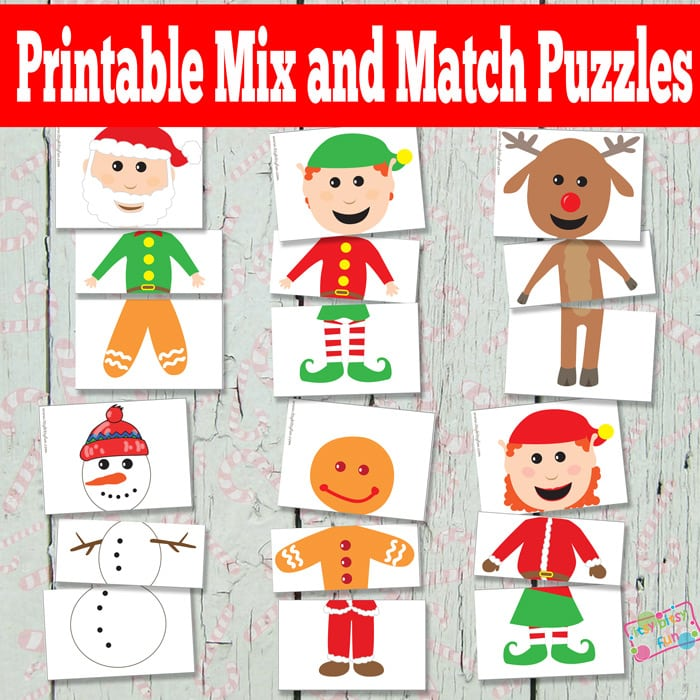 printable christmas puzzle pieces with title text reading Printable Mix and Match Puzzles