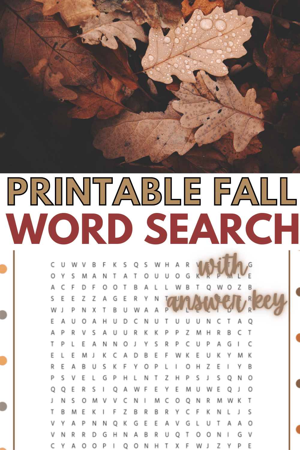 This free printable fall word search is a great autumn themed activity for elementary school aged kids! #wordsearch #printable #forkids #wondermomwannabe via @wondermomwannab