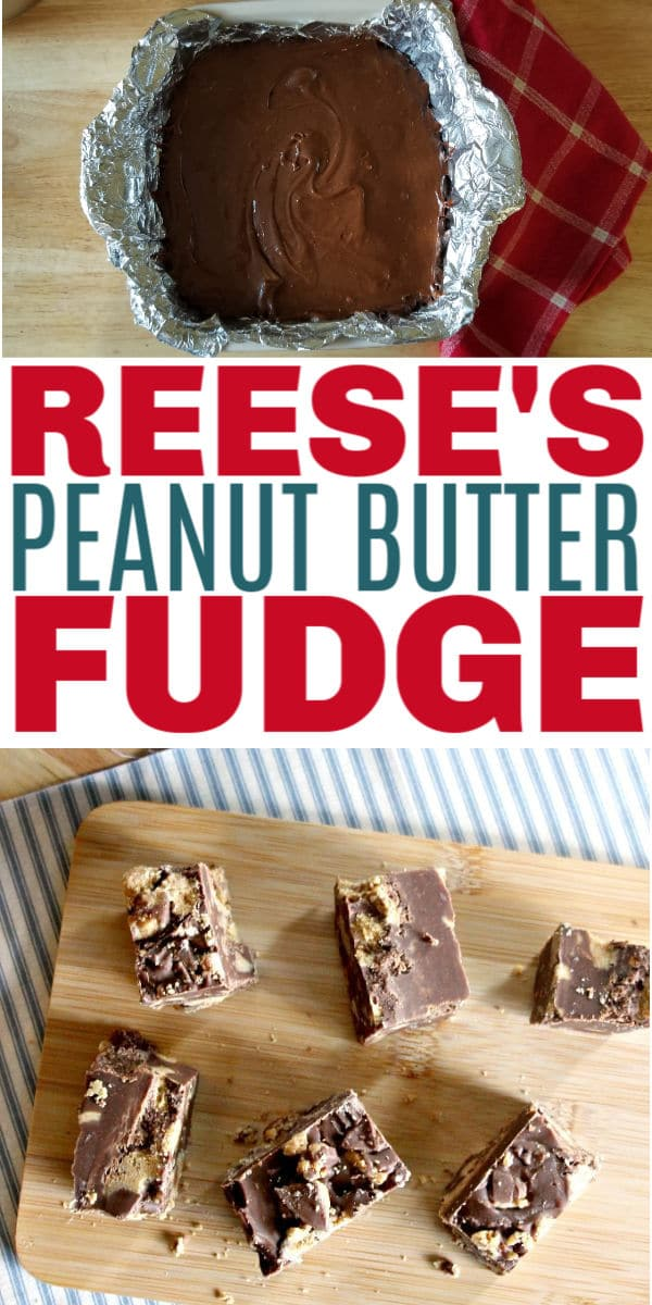 a collage of Reese's Peanut Butter Fudge with title text reading Reese's Peanut Butter Fudge