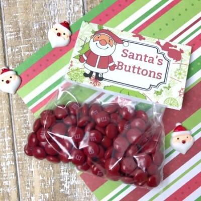 printable Santa's Buttons Treat Bags