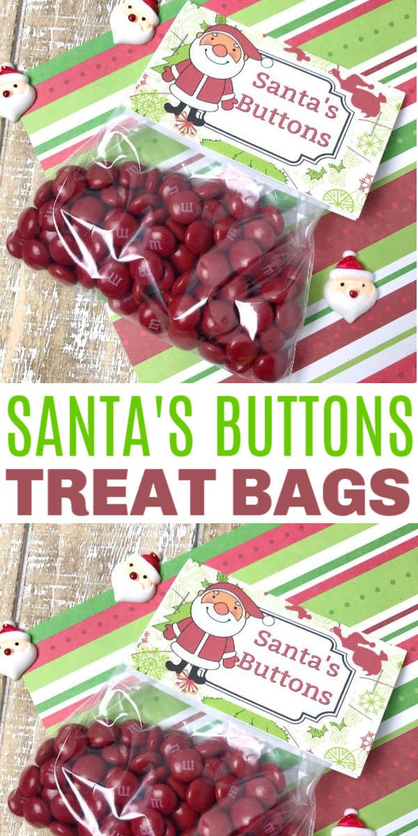 a collage of Santa's Buttons Treat Bags with title text reading Santa's Buttons Treat Bags