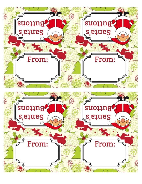 printables with title text reading santa's buttons and from on a christmas tree background