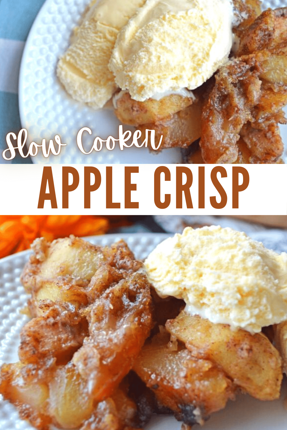 Slow Cooker Apple Crisp is a must-make dessert for fall. This simple crock pot dessert recipe will fill your home with the smells of cinnamon apples! #apples #5ingredients #slowcooker via @wondermomwannab