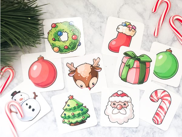 printable cards with christmas objects on them