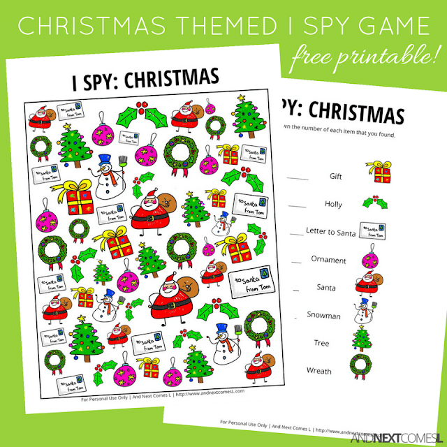 printables with title text reading Christmas themed I Spy Game free printable