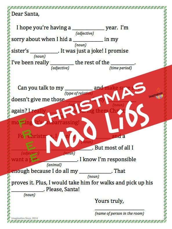 printable with title text reading Free Christmas Mad Libs