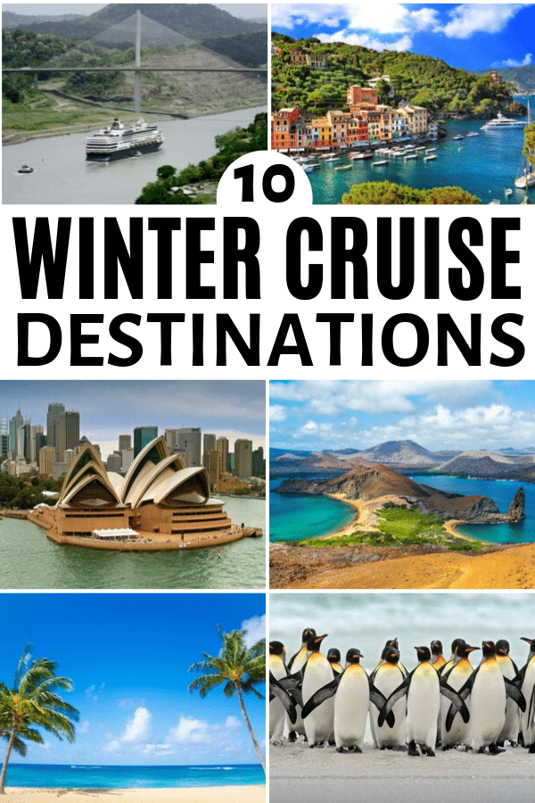 "college image of cruise ship on Panama canal, coast of Italy, Sydney opera house, Galapagos Islands, Hawaiian beach, and penguins with title text reading ""10 Winter Cruise Destinations"""