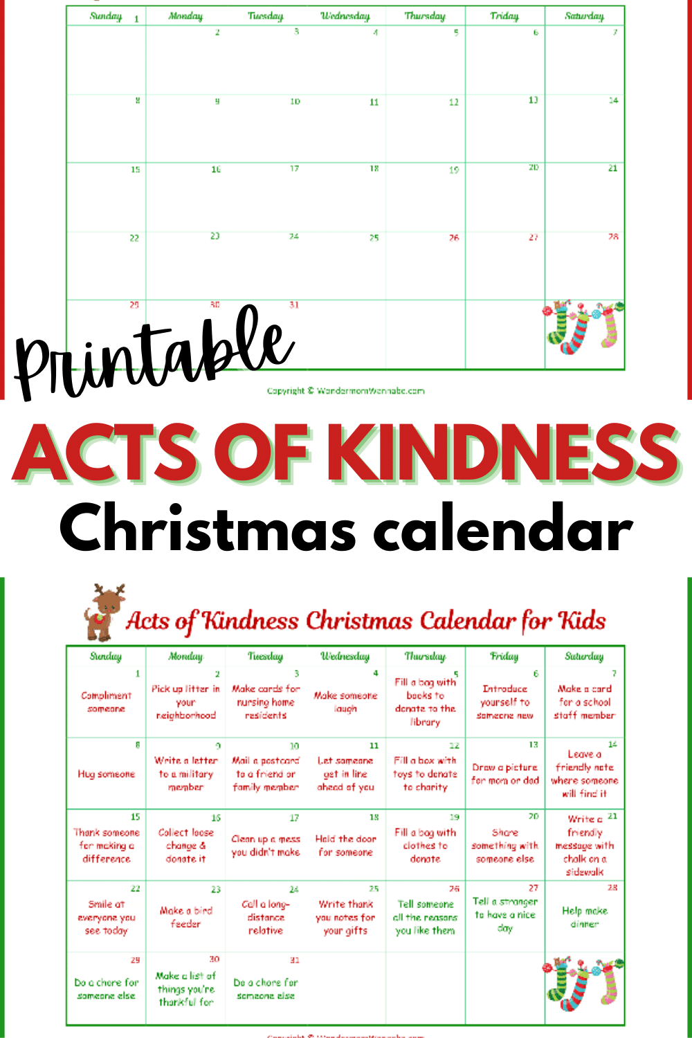 This random acts of kindness Christmas calendar is designed just for kids! What a great way to show kids that you're never too young to make a positive impact. #printables #RAKprintables #Christmasprintables #Kidsprintables #Randomactsofkindness via @wondermomwannab