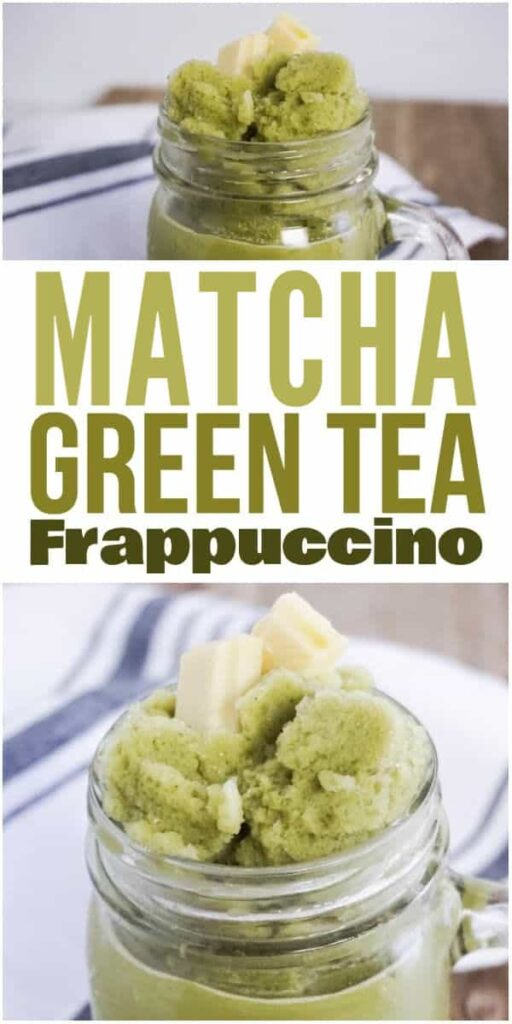 2 images of a Matcha Green Tea Frappuccino in a glass on a brown table next to a striped cloth