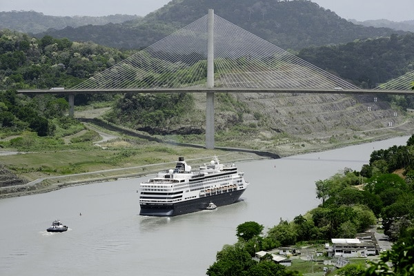 a ship on water entering the Panama Canal
