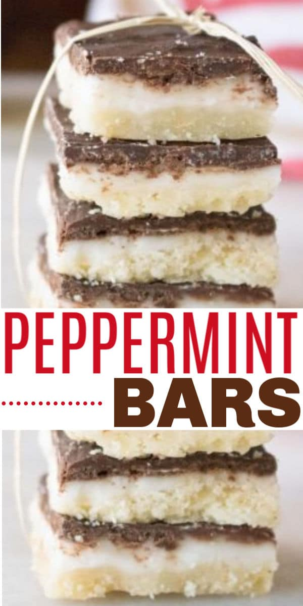 a collage of peppermint bars with title text reading Peppermint Bars