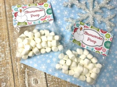 how to make Snowman Poop Treat Bag