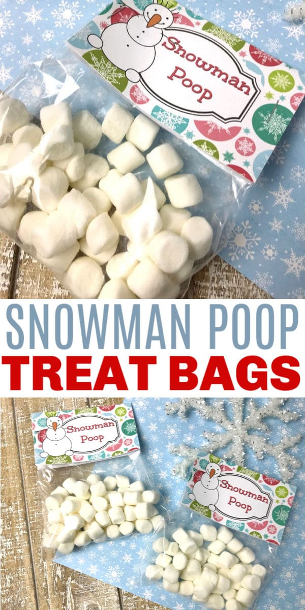 a collage of marshmallows in plastic bags labelled Snowman Poop on a brown and blue linen next to a snowflake with title text reading Snowman Poop Treat Bags