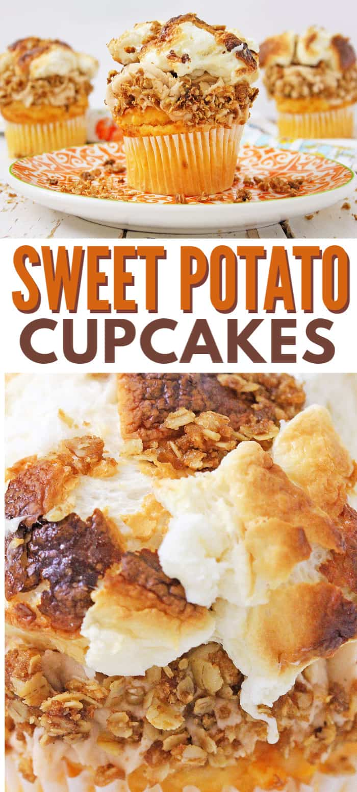 These Sweet Potato Cupcakes make the perfect Fall treat. If you enjoy sweet potato casserole, you're going to love this cupcake version of that amazing dish! #sweetpotatocasserole #cupcakes #sweetpotato via @wondermomwannab
