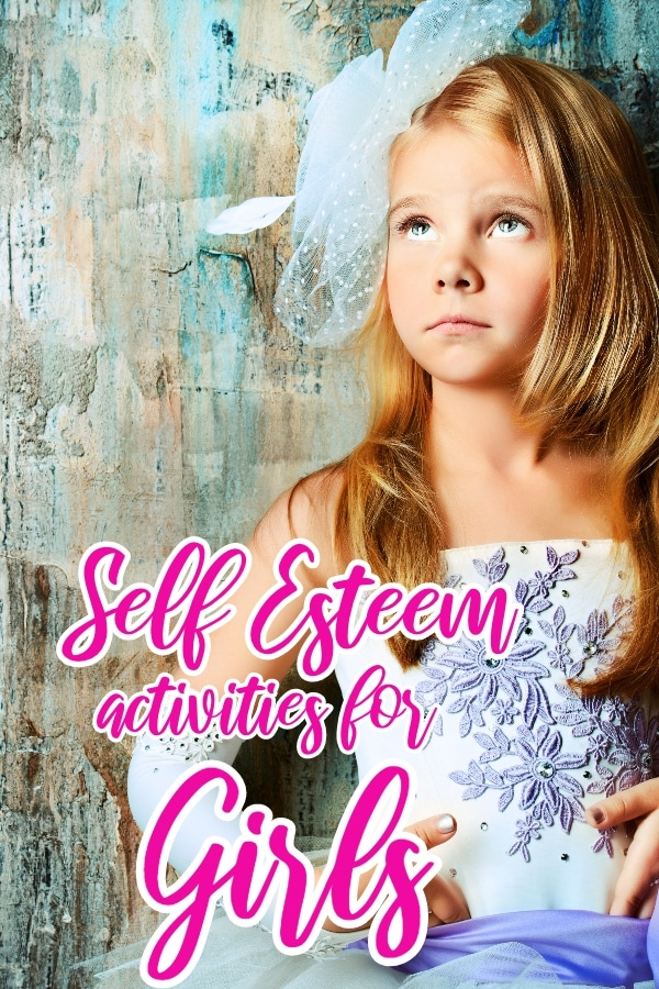 a girl with a bow in her hair with a blue and brown background with title text reading Self Esteem activities for Girls