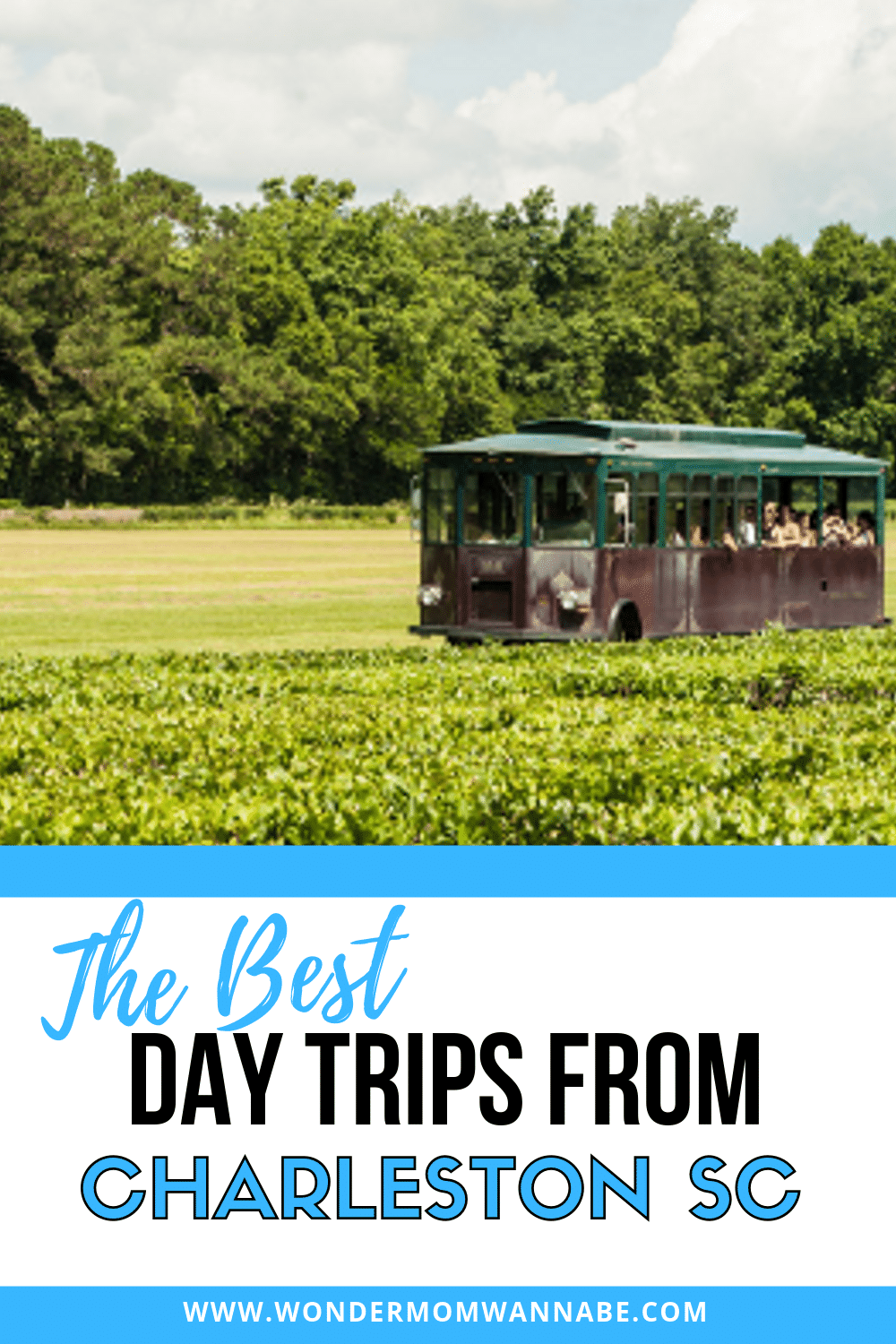 A trolley travelling through a green field with trees in the background with title text reading The Best Day Trips from Charleston SC