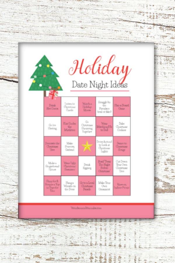 printable card of Christmas date ideas