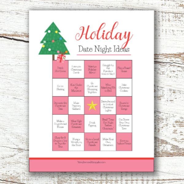 printable of Christmas date ideas for couples on a wood background