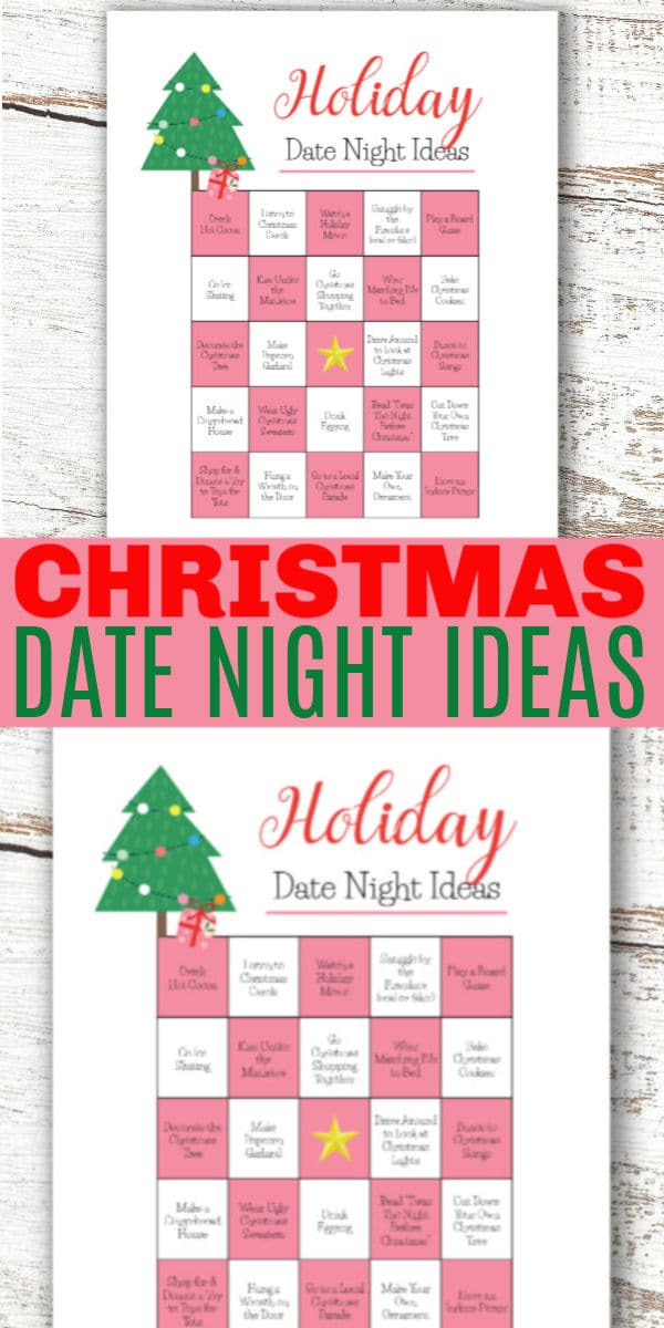 a collage of printables with title text reading Christmas Date Night Ideas