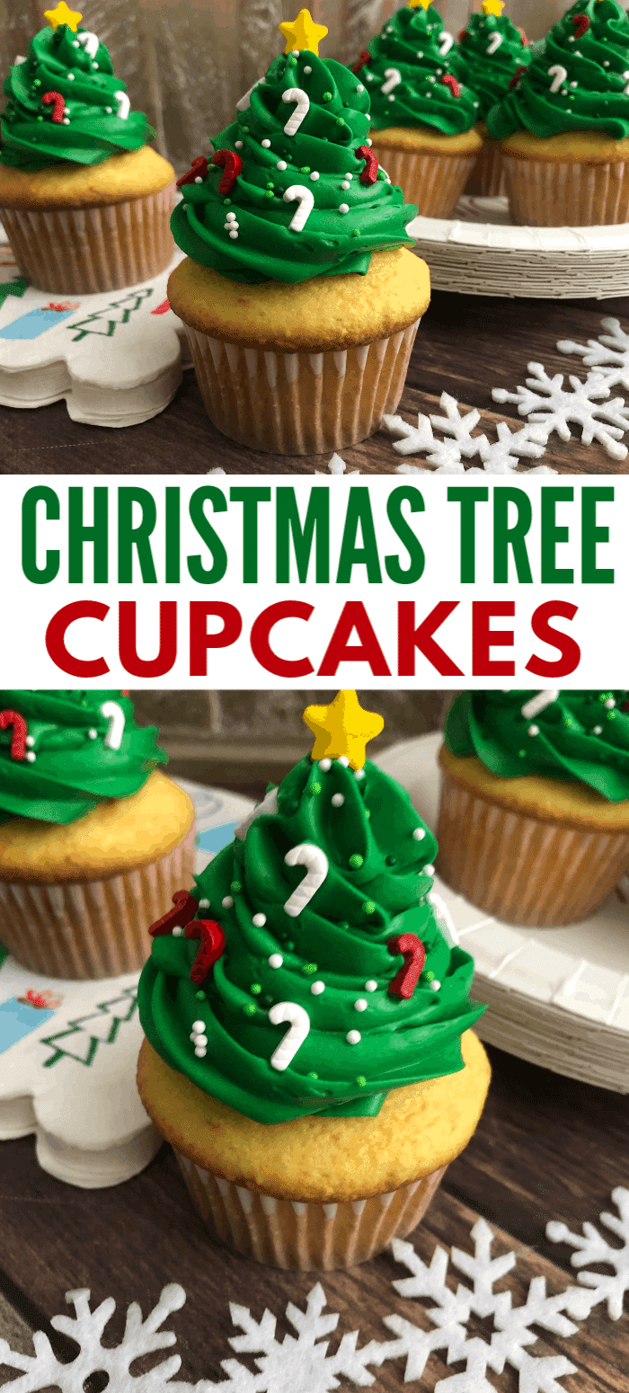 These Easy Christmas Tree Cupcakes are a delicious treat and adorable party decoration all in one! Why not dress up your dessert table with these standout desserts!  #christmas #cupcakes #christmastree #recipe via @wondermomwannab