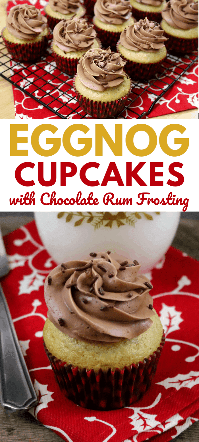 If you like eggnog, you are going to love these Eggnog Cupcakes with Rum Buttercream Frosting. You can eat your calories, rather than drink them! #eggnog #cupcakes #rumbuttercreamfrosting #christmas via @wondermomwannab
