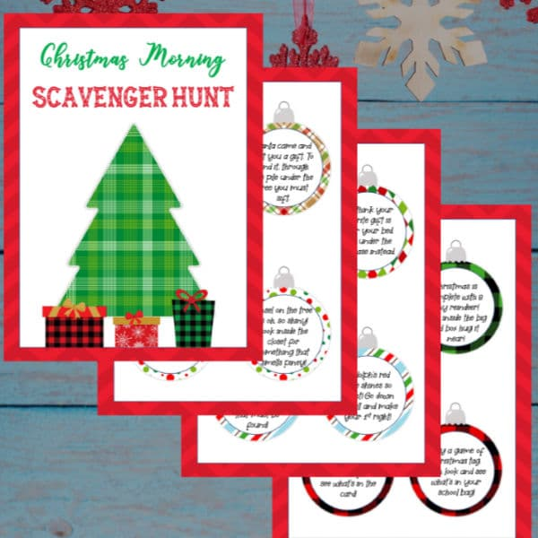Free Printable Christmas Scavenger Hunt Riddles on a wood background with hanging snowflakes