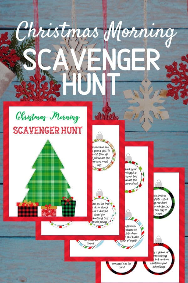 Free Printable Christmas Scavenger Hunt Riddles on a wood background with hanging snowflakes with title text reading Christmas Morning Scavenger Hunt