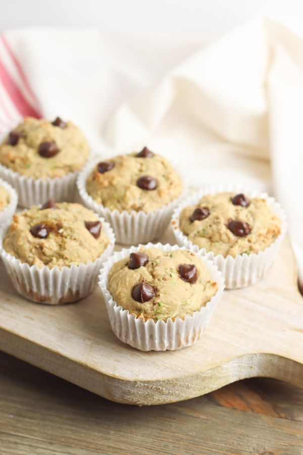 healthy chocolate chip muffins on piece of wood