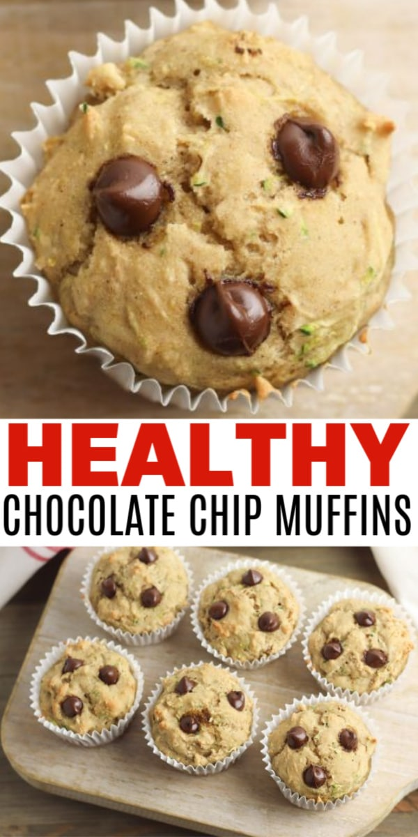 a collage of healthy chocolate chip muffins with title text reading Healthy Chocolate Chip Muffins