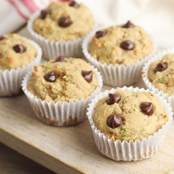close up image of healthy chocolate chip muffins on a piece of wood