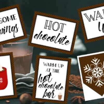 Hot Chocolate Bar Sign and Labels