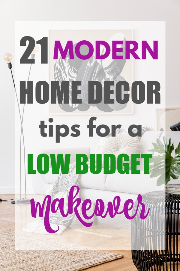 a living room with a couch, rug, lamp with title text reading 21 Modern Home Decor tips for a Low Budget Makeover